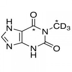 1-METHYLXANTHINE (CHEMICAL PURITY 97%) (1-METHYL,6-13C2, 99%; 1-METHYL-D3, 98%)  --  5 MG